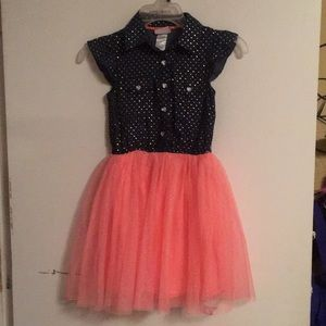Pretty girls Denim and coral tool dress size 8
